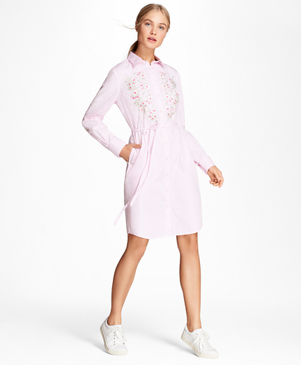 Floral-Embroidered Striped Cotton Poplin Shirt Dress