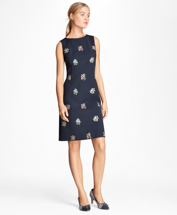 Floral-Embroidered Stretch-Wool Shift Dress Navy