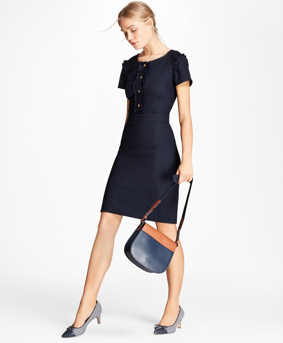 Ruffle-Trimmed Stretch-Wool Sheath Dress Navy