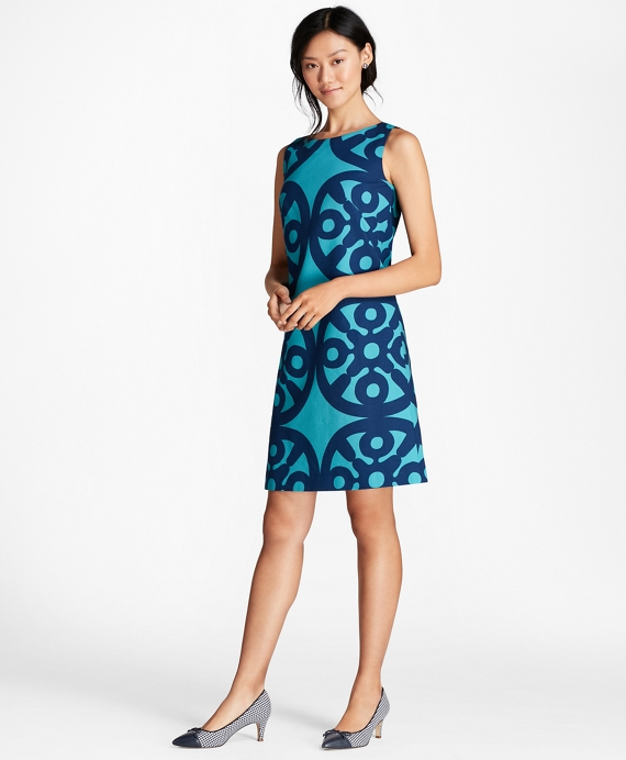 Medallion-Print Stretch-Cotton Shift Dress Teal