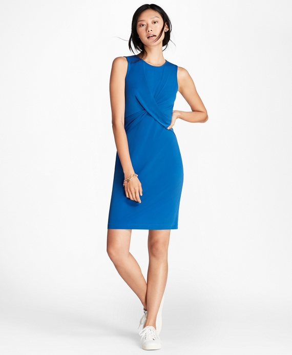 Draped Ponte Sheath Dress Blue