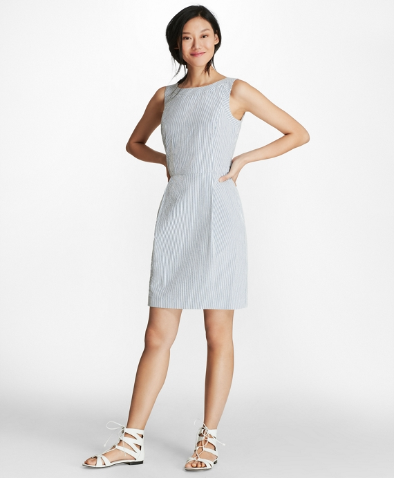 Striped Stretch Cotton Seersucker Sheath Dress