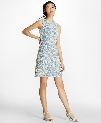 Floral Cotton Eyelet Sheath Dress
