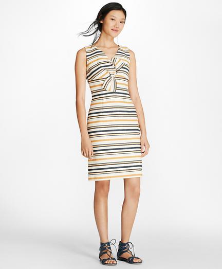Striped Twist-Detail Sheath Dress