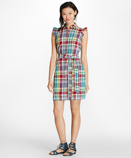 Madras Cotton Seersucker Shirt Dress