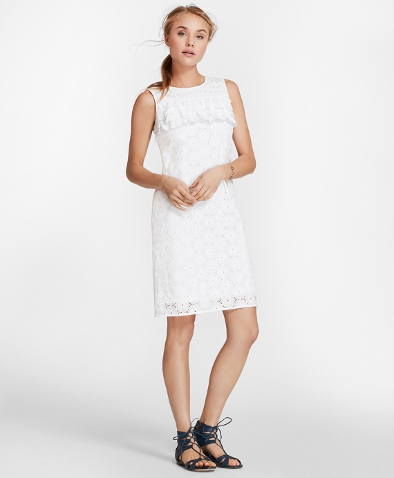 Cotton Eyelet Shift Dress White