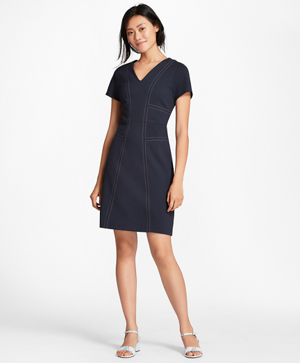 Topstitched Ponte Knit Shift Dress