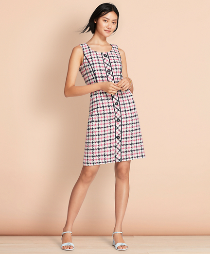 Checked Cotton-Blend Boucle Dress