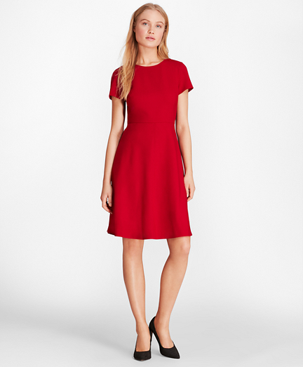 Wool-Blend Twill A-Line Dress