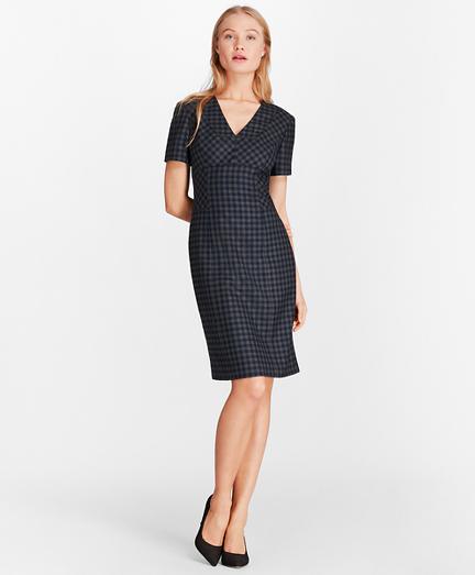 Gingham Wool Twill Sheath Dress