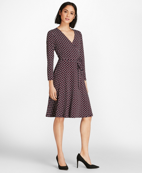 Lattice-Print Jersey Faux-Wrap Dress Navy-Multi