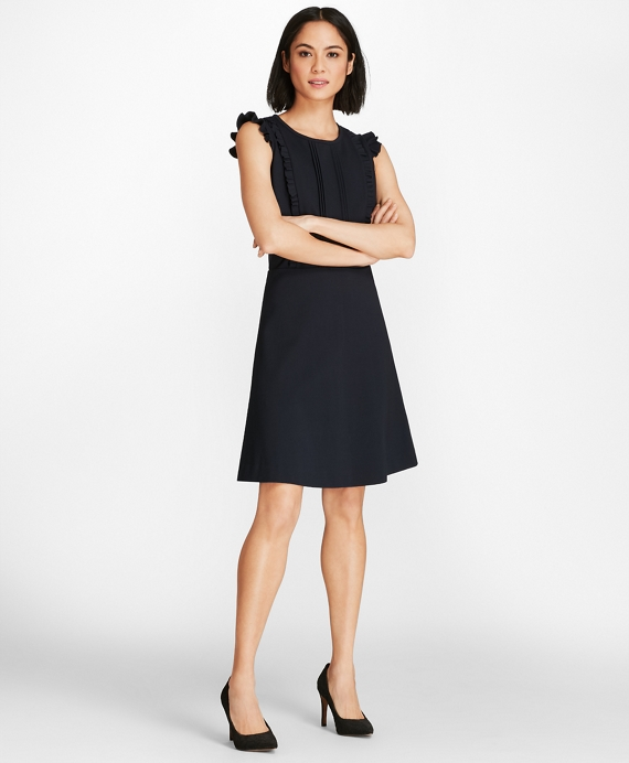 Ruffled Ponte Knit Dress Navy