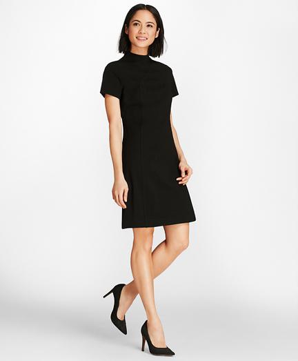 Mockneck Ponte Knit Shirt Dress