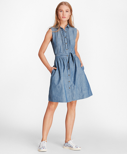 Pintucked Cotton Chambray Shirt Dress