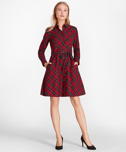 Plaid Cotton Twill A-Line Shirt Dress