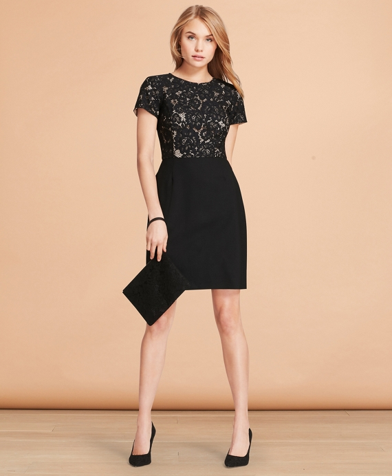 Floral Lace And Wool Twill Sheath Dress Black