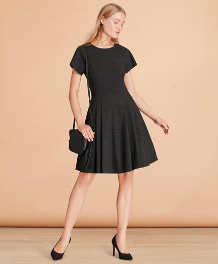 Flocked Polka Dot Twill A-Line Dress