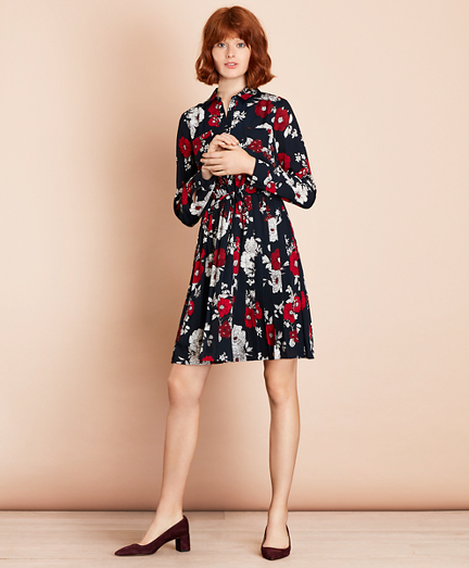 Floral-Print Crepe Shirt Dress