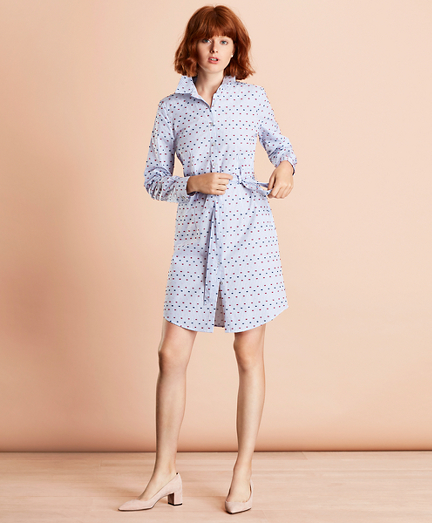 Striped Clip-Dot Cotton Dobby Shirt Dress