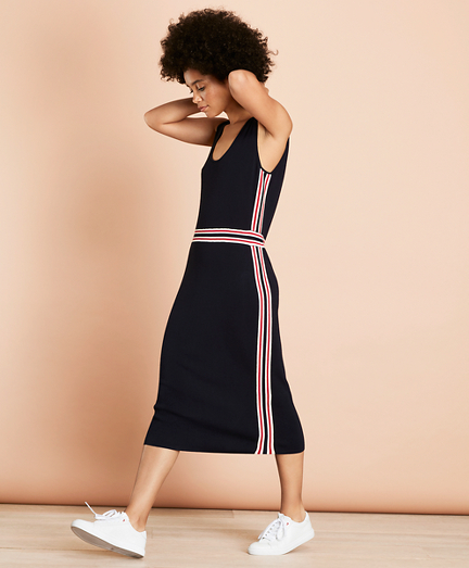 Stripe-Trimmed Sweater Dress