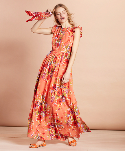 Floral-Print Cotton Maxi Dress