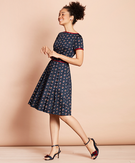 Floral-Print Cotton Sateen Pleated Dress