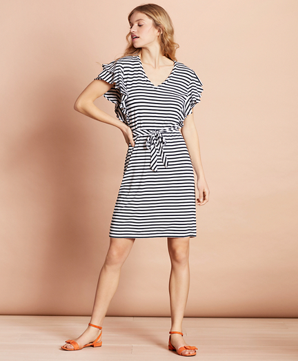 Striped Jersey Flutter-Sleeve Shift Dress