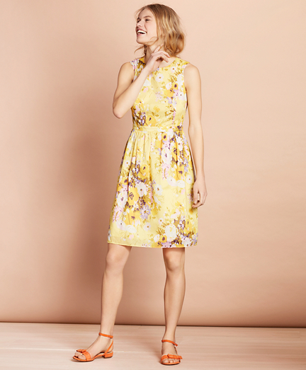 Floral-Print Cotton A-Line  Dress