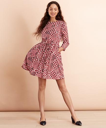 Floral Houndstooth-Print Dress