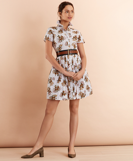 Floral-Print Striped Cotton Poplin Pleated Shirt Dress