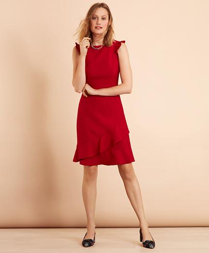 Ruffled Stretch-Wool-Blend Dress
