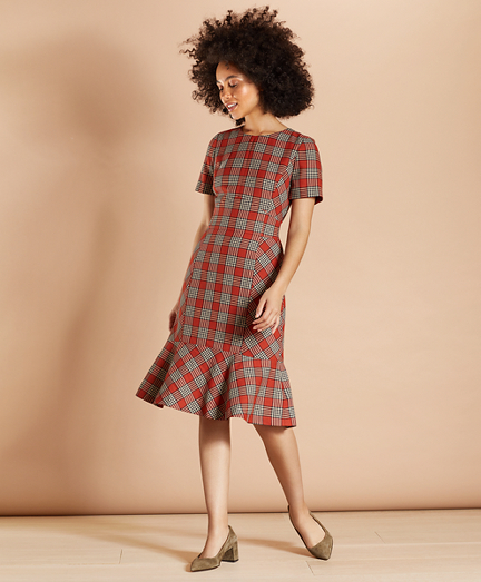Plaid Flounce-Hem Dress