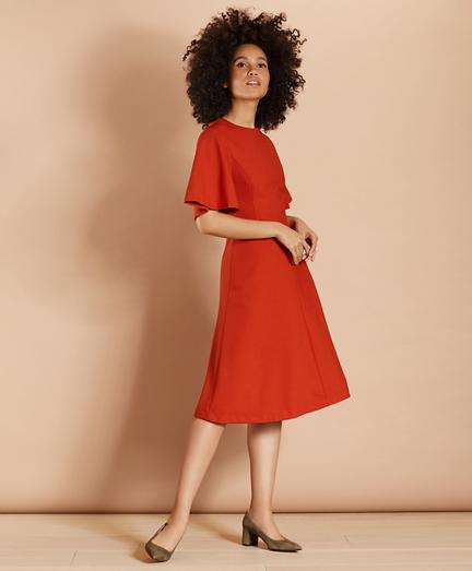 Wool-Blend Twill Bell-Sleeve Midi Dress