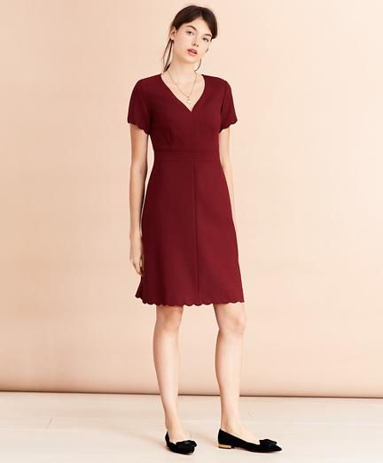 Wool-Blend Twill Scalloped-Hem Dress