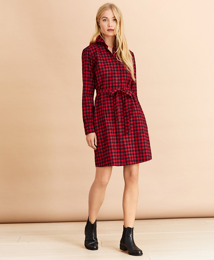 Logo-Print Plaid Flannel Shirt Dress