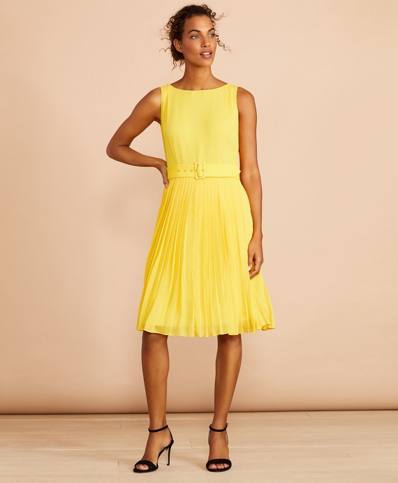 Pleated Chiffon Dress Yellow