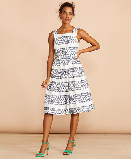 Floral-Embroidered Cotton Eyelet Dress