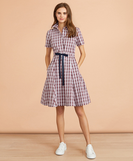 Plaid Cotton Seersucker Shirt Dress