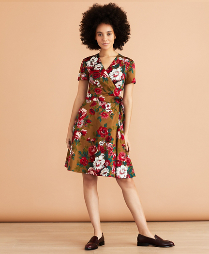 Floral-Print Cotton Sateen Wrap Dress