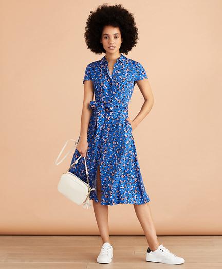 Floral-Print Dobby Shirt Dress