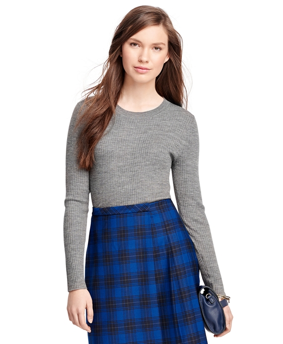 Merino Wool Ribbed Crewneck Sweater Grey