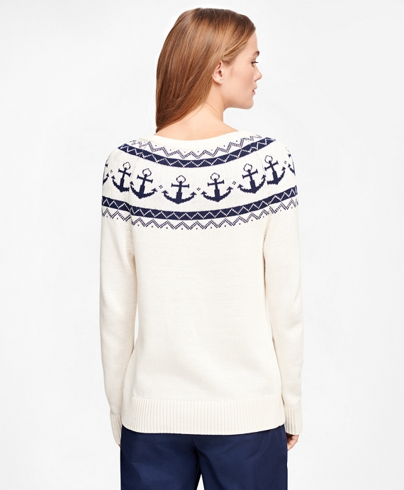 Women's Cotton Anchor Fair Isle Sweater | Brooks Brothers