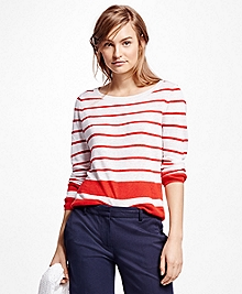 Linen Stripe Crewneck Sweater