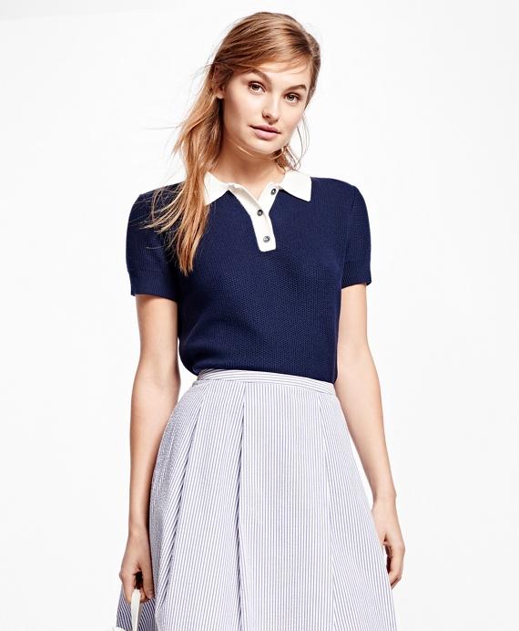 Cotton Polo Sweater Navy
