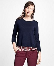 Mixed-Media Crewneck Sweater