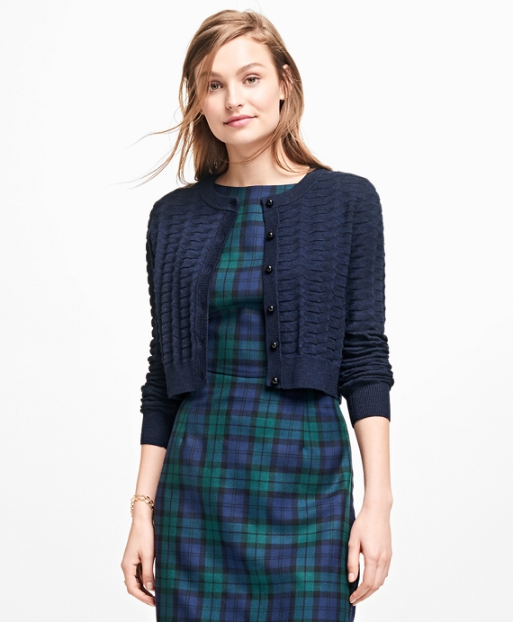 Textured Cropped Cardigan Navy