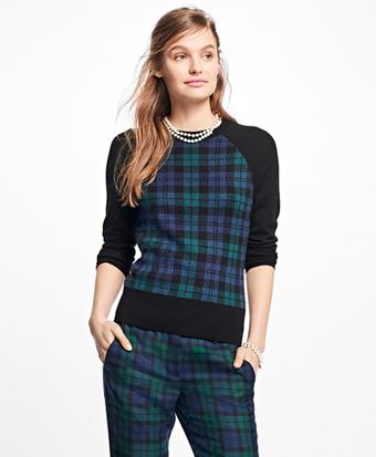 Merino Wool Black Watch Raglan Sweater
