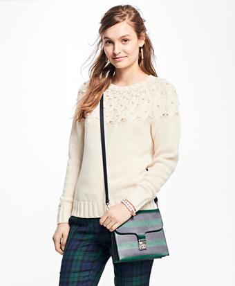 Wool-Cashmere Bobble Crewneck Sweater