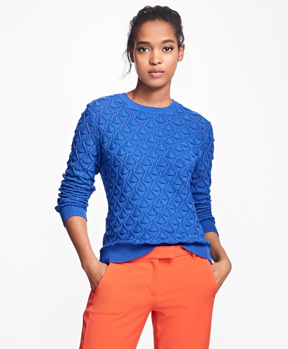 Supima® Cotton Pointelle Sweater Blue