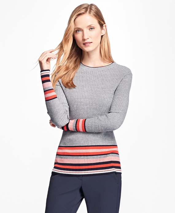Border Stripe Sweater Navy-Multi